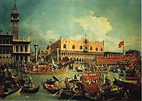 The Bucintgoro by the Molo on Ascension Day, 1729, canaletto