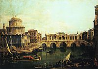 Capriccio of the Grand Canal With an Imaginary Rialto Bridge and Other Buildings, canaletto