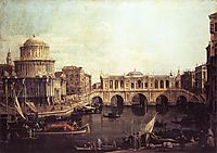 Capriccio: The Grand Canal, with an Imaginary Rialto Bridge and Other Buildings, c.1745, canaletto