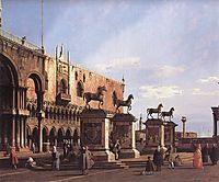 Capriccio: The Horses of San Marco in the Piazzetta, 1743, canaletto