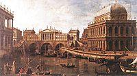 Capriccio: a Palladian Design for the Rialto Bridge, with Buildings at Vicenza, c.1745, canaletto