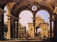 Capriccio of a Renaissance Triumphal Arch seen from the Portico of a Palace, 1755, canaletto