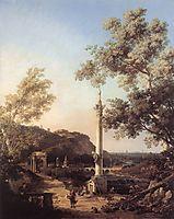 Capriccio: River Landscape with a Column, c.1754, canaletto