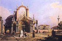 Capriccio of a Round Church with an Elaborate Gothic Portico in a Piazza, a Palladian Piazza and a Gothic Church Beyond, 1755, canaletto