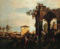 Capriccio with Ruins and Porta Portello in Padua, c.1760, canaletto