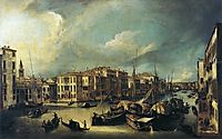 Grand Canal Looking Northeast from near the Palazzo Corner Spinelli to the Rialto Bridge, c.1725, canaletto