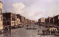 Grand Canal: Looking South East from the Campo Santa Sophia to the Rialto Bridge, c.1756, canaletto