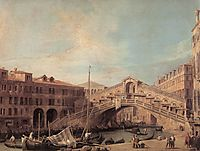 Grand Canal. The Rialto Bridge from the South., 1727, canaletto