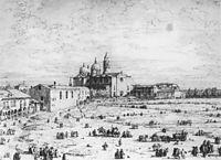 Padua: The Prato della Valle with Santa Giustinia and the Church of Misericordia, c.1740, canaletto