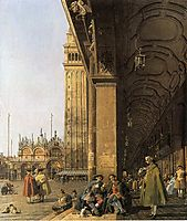 Piazza San Marco, Looking East from the Southwest Corner (Piazza San Marco and he Colonnade), c.1756, canaletto