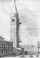 The Piazzetta: Looking North, the Campanile under Repair, 1745, canaletto