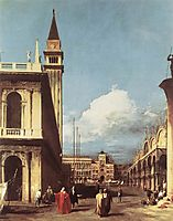 The Piazzetta, Looking toward the Clock Tower, c.1727, canaletto