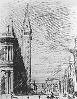 The Piazzetta Looking towards the Torre dell-Orologio, c.1728, canaletto
