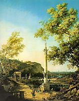 River Landscape with a Column, canaletto