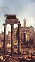 Rome: Ruins of the Forum, Looking towards the Capitol, 1742, canaletto