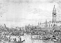 Venice: The Canale di San Marco with the Bucintoro at Anchor, c.1732, canaletto