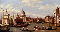 View Of The Grand Canal And Santa Maria Della Salute With Boats And Figures In The Foreground, Venice, canaletto