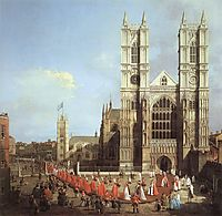 Westminster Abbey, with a Procession of Knights of the Bath, 1749, canaletto
