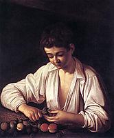 Boy peeling a fruit, ~1593, caravaggio