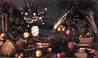 Still Life with Flowers and Fruit, 1590, caravaggio