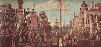 The Meeting of Etherius and Ursula and the Departure of the Pilgrims, 1498, carpaccio