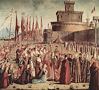 The Pilgrims Meet Pope Cyriac before the Walls of Rome, 1493, carpaccio