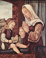 Virgin Mary and John the Baptist, praying to the child Christ , c.1500, carpaccio