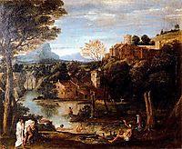 Landscape with bathers, carracci