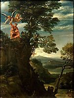 Landscape with the sacrifice of Isaac, carracci