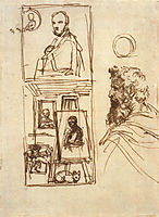 Preparatory drawing for Self-portrait on an Easel in a Workshop, carracci