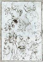 Sheet of caricatures, c.1595, carracci