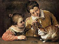 Two Children Teasing a Cat, 1590, carracci