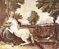 Virgin and Unicorn (A Virgin with a Unicorn), 1605, carracci