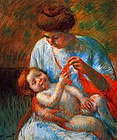 Baby Lying on His Mother s Lap, reaching to hold a scarf, 1914, cassatt