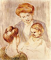 A Baby Smiling at Two Young Women, 1873, cassatt