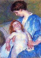 Baby Smiling up at Her Mother, 18, cassatt