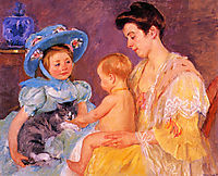 Children Playing with a Cat, 1908, cassatt