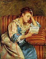 Mrs. Duffee Seated on a Striped Sofa, Reading, 1876, cassatt