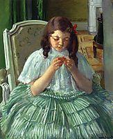Françoise in Green, Sewing, 1909, cassatt