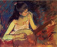 Girl with a Banjo, 1893-1894, cassatt