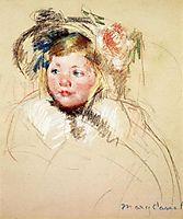 Head of Sara in a Bonnet Looking Left, 1901, cassatt