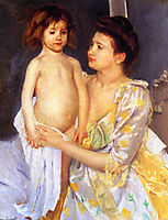 Jules Being Dried by His Mother, 1900, cassatt