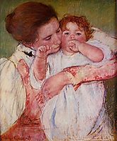 Little Ann Sucking Her Finger, Embraced by Her Mother, 1897, cassatt