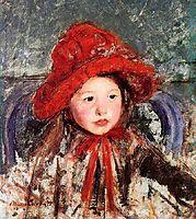 Little Girl in a Large Red Hat, 1881, cassatt
