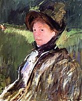 Lydia Cassatt in a Green Bonnet and a Coat, c.1880, cassatt