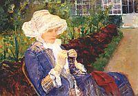 Lydia crocheting in the garden at marly, 1880, cassatt