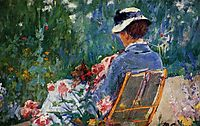 Lydia Seated in the Garden with a Dog in Her Lap, c.1880, cassatt