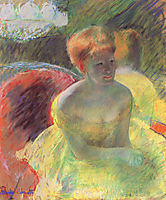 Lydia Leaning on Her Arms, Seated in a Loge, 1879, cassatt