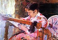 Lydia at the Tapestry Loom, 18, cassatt