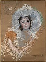 Margot Lux with a wide hat, cassatt